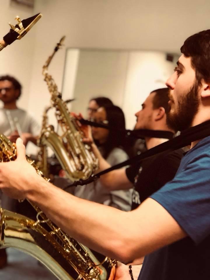 2018 - Les sax en pleine répétition MaKaBés, dans la salle de gym (Kremlin-Bicêtre)